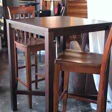 10759 high top bar style wood table with 2 chairs