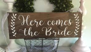 here comes the bride ring bearer sign rustic wedding signage rustic sign rustic wooden sign custom wood sign stain wood 01