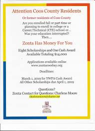 2000 No Essay College Scholarship Zonta Coos Bay Scholarships