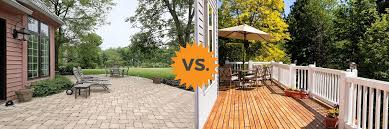Backyard Concrete Designs Simple 48 Deck Vs Patio Guide Costs Differences Concrete Or Wood