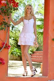 Lola Myluv strips off white dress and pink panties outside.