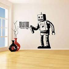 <b>Banksy Vinyl Wall Decal</b> Robot Graffiti Wall Stickers Machine ...