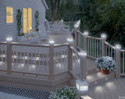 outdoor stair lighting lounge. Luxury Terrace Area With Post Cap Style Solar Deck Lights, Wooden White Painted Lounge Chair Outdoor Stair Lighting S