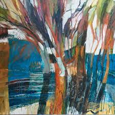 trees and water seascape abstract original oil painting australian landscapes by sydney contemporary abstract artist debbie