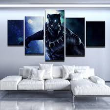 black panther fierce 5 piece canvas wall art on black white blue wall art with 2018 black panther canvas wall art free shipping 60 off