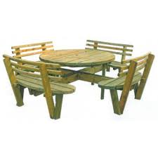 contemporary picnic table wooden round for public spaces 161338