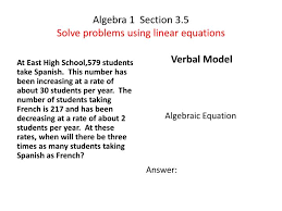 algebra 1 section 3 5solve problems using linear equations