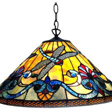 colorful dragonfly tiffany stained glass pendant light
