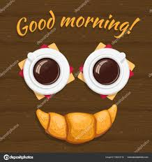 Guten Morgen Das Frühstück Bestehend Aus Zwei Tassen Kaffee Und