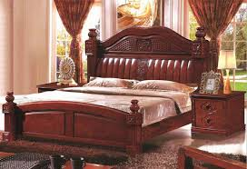 Solid Wood Furniture, Antique Wood Bed 1.8 Meters With Modern Design Column  Classical Section Double