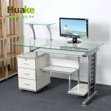 small long high wide white tempered glass computer table desk with extra
