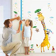 Amazon Height Chart Kids Height Growth Chart Giraffe Height Chart Decal Child Height Wall Sticker Height Measurement Chart Wall Decals For Kids Room Bedroom Living Room
