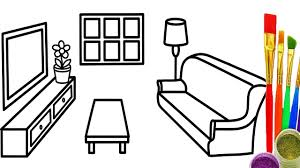 How to Draw Livingroom Coloring Pages for Kids Learn Colors with Baby