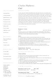 Chef Resume Format Chef Resume Examples Resume Sample For A Prep ...