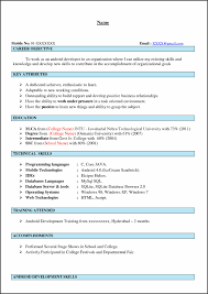 Free Resume For Freshers Android Developer Resume Examples Sample Download Fresher Pictures 45
