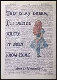 alice in wonderland quote vintage dictionary book page print wall art picture on alice in wonderland wall art quotes with cheshire cat crazy quote print dictionary picture wall art alice in