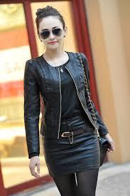 2016 spring women s leather clothing female short design slim