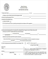 Georgia Separation Notice Template