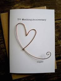 7th wedding anniversary designer keepsake card copper wire heart 7 years traditional gift husband wife understated