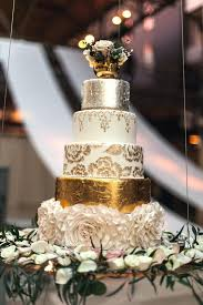 Five Tier Gold White And Silver Wedding Cake Wedding Ideas