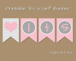 Printable Baby Shower Banner Diy Its A Girl Banner Pink Grey Chevron Bunting Pennant Instant Download Baby Shower Photo Prop Bb1