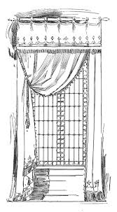 vintage window drawing. antique images: vintage graphic curtain design: illustration single window treatment drawing