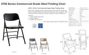 specification sheet samsonite 49751 commercial grade steel chair