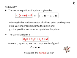 n is a vector perpendicular to the plane and