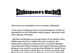 how is an atmosphere of evil created in macbeth gcse english  document image preview