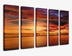 >amazon large canvas wall art sunset beach painting artwork 36  large canvas wall art sunset beach painting artwork 36 quot x 60 quot 5 piece