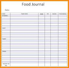 Food Journal Template Excel Password Log And Tracker Spreadsheet