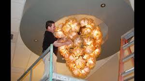 scott chambers art glass chandelier installation