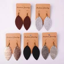 pu leather earrings joanna gains magnolia bohemia 2018 fashion new cutting leaf feather