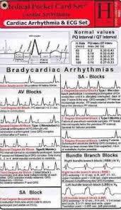 Cardiac Arrhythmia And Ecg Medical Pocket Card Set