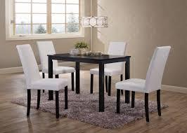 black wood rectangular dining table. 5 Piece Black Wood Rectangle Kitchen Dinette Dining Table \u0026 4 Or White Upholstered Parsons Rectangular