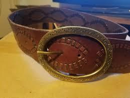 lucky brand women s medium dark brown leather w buckle belt boho hippie chic xs