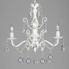 wrought iron crystal 4 light white chandelier with 40mm faceted crystall h 14