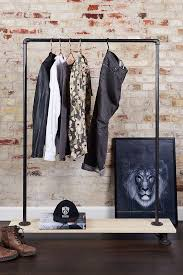 Clothes rack out of iron pipe with pine shelf  RackBuddy