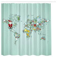 santa shower curtain aqua blue world map globe fabric shower curtain santa belt shower curtain santa