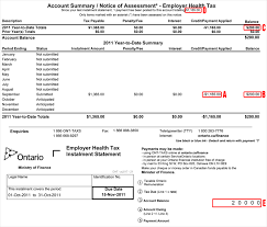 Assessment Example Understanding Your EHT Monthly Account Summary/Notice of Assessment