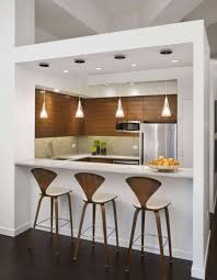 Kitchens:White Kitchen With White Kitchen Bar Also Modern Wood Bar Stools  Also Wood Cabinet