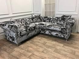 crushed velvet flint corner sofa