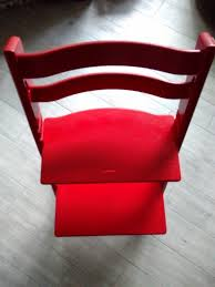 stokke tripp trapp chair for kids red and harness used