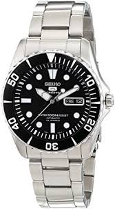 amazon com seiko 5 black dial stainless steel automatic mens seiko 5 black dial stainless steel automatic mens watch snzf17