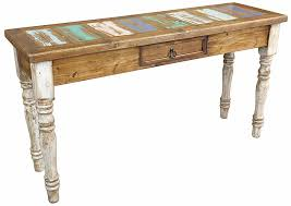 painted wood sofa table with white