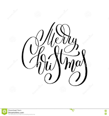 merry christmas black and white script.  White Merry Christmas Black And White Handwritten Lettering Inscription Holiday  Phrase Typography Banner With Brush Script Calligraphy Vector Illustration With Christmas Black And White Script M