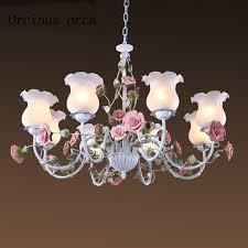 Romantic Pastoral Style Rose Chandelier Iron Flower Lights Mediterranean  Living Room Bedroom Ceiling Lamp Postage Free