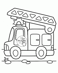 Cartoon Fire Truck Coloring Page For Preschoolers Transportation