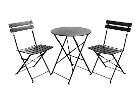 com finnhomy slatted 3 piece outdoor patio furniture sets bistro sets steel folding table and chair set with safe lock for indoors and outdoors