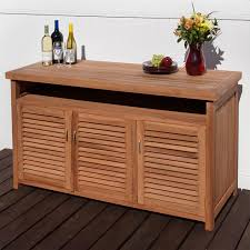 Teak Outdoor Buffet With Storage - Exterior storage cabinets